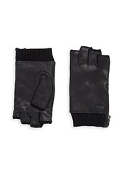 John Varvatos Leather Zip Gloves Black