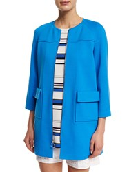 St. John Milano Knit 3 4 Sleeve Raglan Topper Coat Cyan Blue