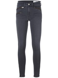Rag And Bone Jean Zipped Pocket Skinny Jeans Grey