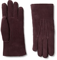 Loro Piana Water Reitant Hearling Glove Burgundy