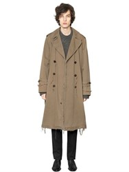 Maison Martin Margiela Raw Cut Heavy Cotton Satin Trench Coat