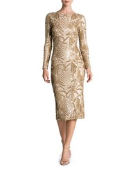 Dress The Population Emery Art Deco Sequin Midi Brushed Gold