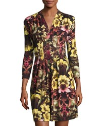 Catherine Malandrino 3 4 Sleeve Floral Print A Line Dress Multi Pattern