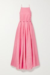 Cult Gaia Bella Open Back Cutout Linen Maxi Dress Pink