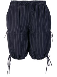 Jean Paul Gaultier Vintage Pinstripe Gathered Shorts Blue
