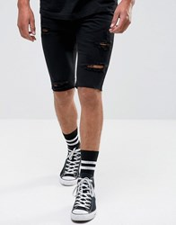 Religion Denim Shorts With Rips Black