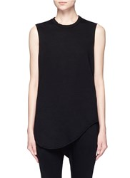 Bassike Heritage Scoop Hem Organic Cotton Tank Top Black