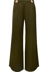 Mother Of Pearl Bridget Button Embellished Satin Wide Leg Pants Army Green