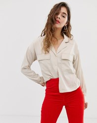 Noisy May Pocket Detail Shirt With Contrast Stitch Cream