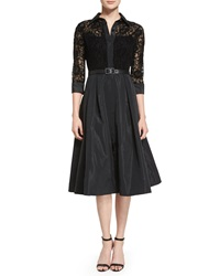 Rickie Freeman For Teri Jon Lace Full Skirt Belted Cocktail Shirtdress