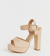 Truffle Collection Wide Fit Buckle Platform Heeled Sandals Beige