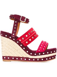 Lanvin Studded Wedge Sandals Pink And Purple