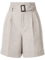 Loveless Buckle Detail Shorts Neutrals