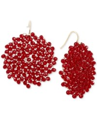 Kenneth Cole New York Gold Tone Red Bead Woven Drop Earrings