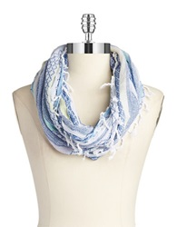 Collection 18 Striped Infinity Scarf Blue