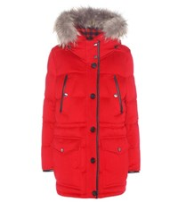 Burberry Fur Trimmed Down Filled Cashmere Coat Red