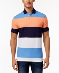 Club Room Men's Sun Protection Performance Colorblocked Polo Only At Macy's Navy Blue