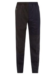 Stella Mccartney Patchwork Pinstriped Wool Trousers Navy