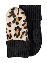 Miu Miu Animal Print Knitted Gloves Nude And Neutrals