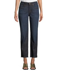 Eileen Fisher High Rise Slim Frayed Hem Ankle Jeans Plus Size Utility Denim