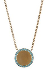 Nordstrom Rack Pave Cz Halo Disc Pendant Necklace Blue