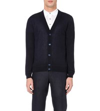 Canali V Neck Cashmere And Sillk Blend Cardigan Navy