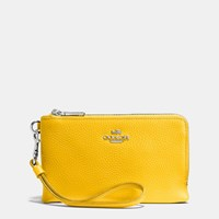 Coach Double Corner Zip Wristlet In Polished Pebble Leather Silver Canary