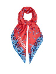 Vetements Floral Print Silk Scarf Pink