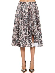 Calvin Klein 205W39nyc Shark Attacked Pleated Taffeta Skirt Leopard