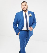 Farah Skinny Wedding Suit Jacket In Blue Regatta Blue