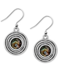 Lucky Brand Silver Tone Abalone Stone Circle Drop Earrings