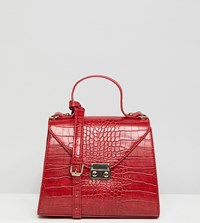 Glamorous Red Faux Croc Cross Body Bag Red Croc