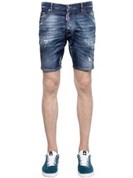 Dsquared2 Washed Destroyed Stretch Denim Shorts