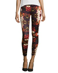 Romeo And Juliet Couture Floral Print Scuba Leggings Black Red Rust