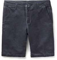Massimo Alba Vela Slim Fit Watercolour Dyed Linen And Cotton Blend Shorts Midnight Blue