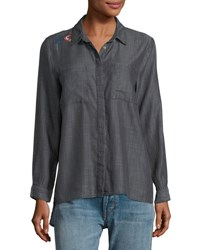Velvet Heart Embroidered Button Down Top Gray