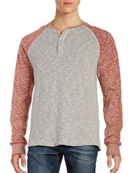 Lucky Brand Grey Label Henley Tee Red Multi
