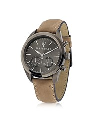 Maserati Pole Position Chronograph Gunmetal Dial And Brown Leather Strap Men's Watch Dark Gray