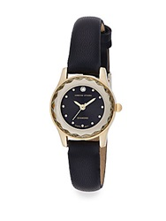 Adrienne Vittadini Pave Diamond Goldtone And Faux Leather Watch