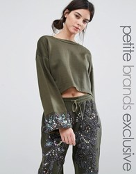 Starry Eyed Petite Dipped Sweatshirt With Beaded Cuff Detail Khaki Green