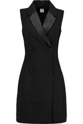 Iris And Ink Satin Trimmed Crepe Tuxedo Dress Black
