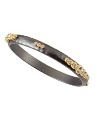 Panacea Hematite Golden Accent Crystal Bangle