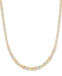 Macy's Tri Tone Graduated Link Necklace In 14K Tri Color Gold