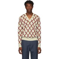 Gucci Off White Wool V Neck Sweater