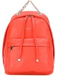 Furla Medium Chain Detail Backpack Yellow And Orange