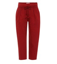 See By Chloe Cotton Twill Cropped Trousers Red