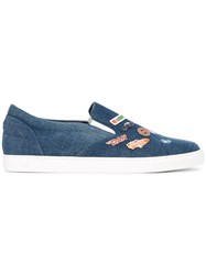 Dsquared2 Pin Detailed Denim Sneakers Men Cotton Leather Rubber 41 Blue