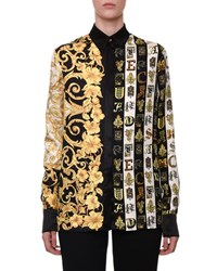 Versace Long Sleeve Button Front Hibiscus And Letter Print Silk Blouse Black Gold