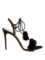 Aquazzura Fancy Nancy Mink Fur Sandals