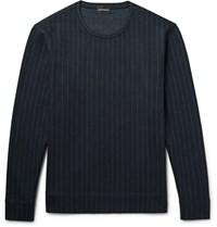 Club Monaco Pinstriped Wool Blend Sweatshirt Midnight Blue